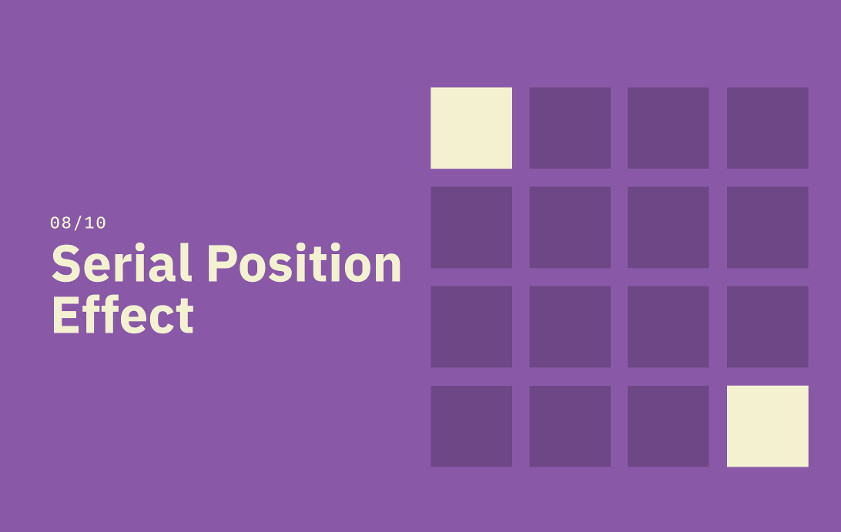 serisl position Serial position effect is the tendency of a person to recall the first and last items in a series best, and the middle items worst the term was coined by hermann ebbinghaus through studies he performed.