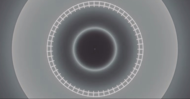 Trippy geometric animation for intense, layered electronic music