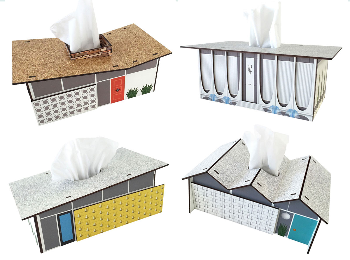 tissue box covers styled like midcentury modern architecture boing