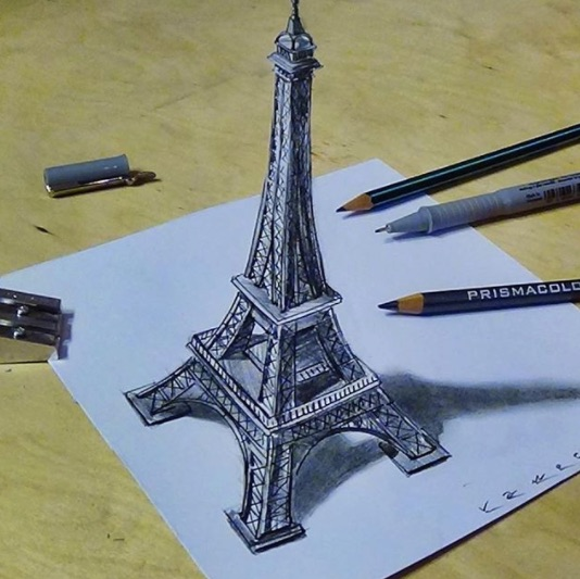Incredible collection of 3D drawings that appear to rise out