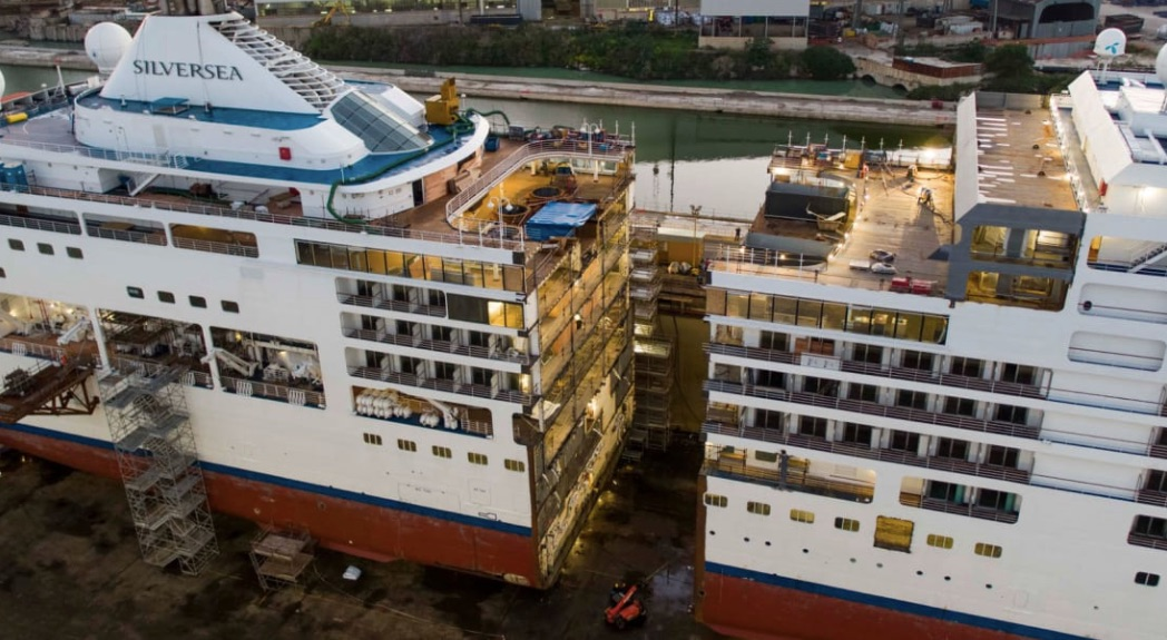 Massive cruise ship sliced in half to embiggen it