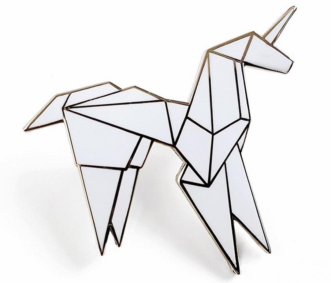 Enamel Origami Unicorn Lapel Pin Boing Boing