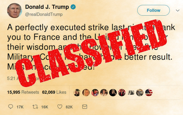 For the first time, a US president has classified the legal justification for taking publicly acknowledged actions