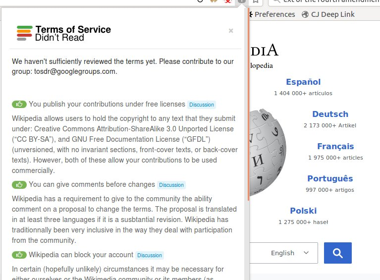 Terms of Service; Didn't Read: a browser add-on that warns you about the terrible fine-print you're about...
