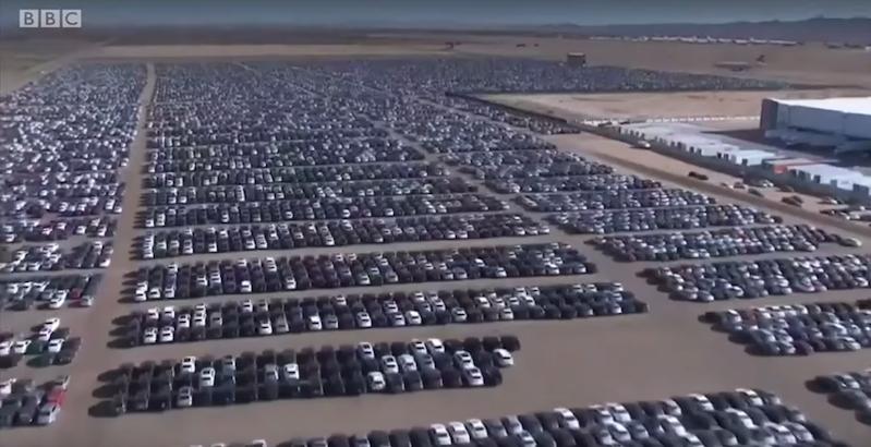Aerial footage of a Volkswagen diesel car graveyard in ...