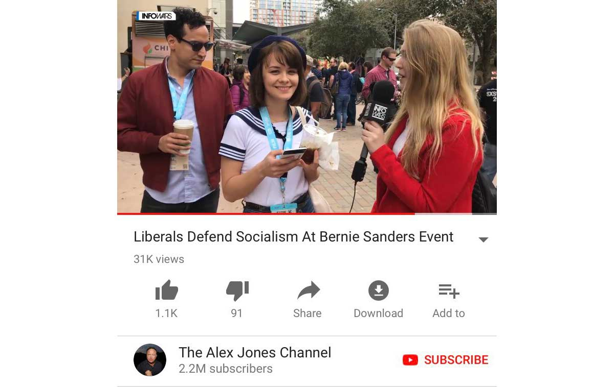 Infowars went to an event to make a gotcha video with people outside a SXSW  event featuring Bernie Sanders. The Infowars reporter probably regrets ...