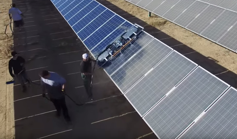 Drone S Eye View Of How Solar Farms Clean All Those Panels