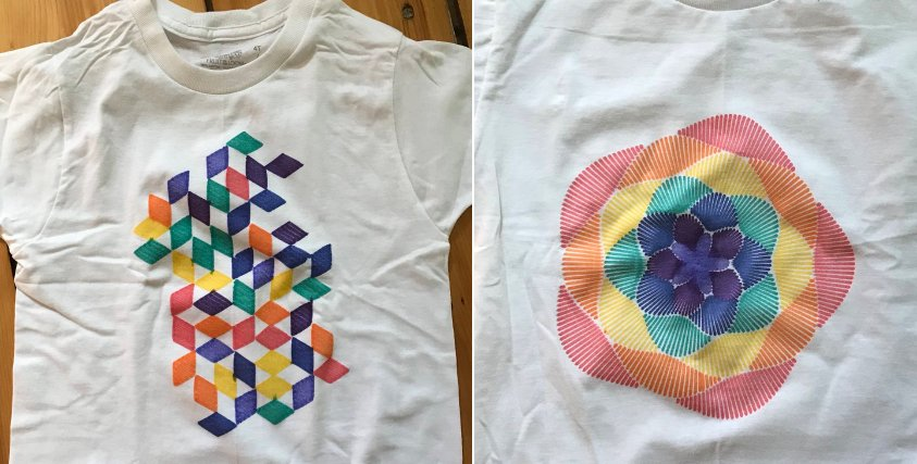 Astounding t-shirt art, created by marker-wielding open source hardware plotters