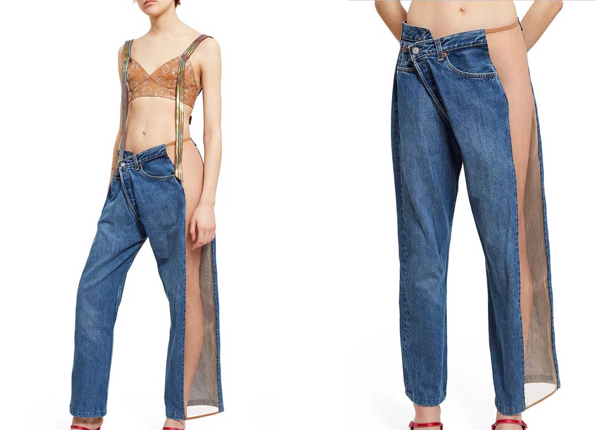 Frankensteinian blue jeans-mesh monstrosity on sale for $236