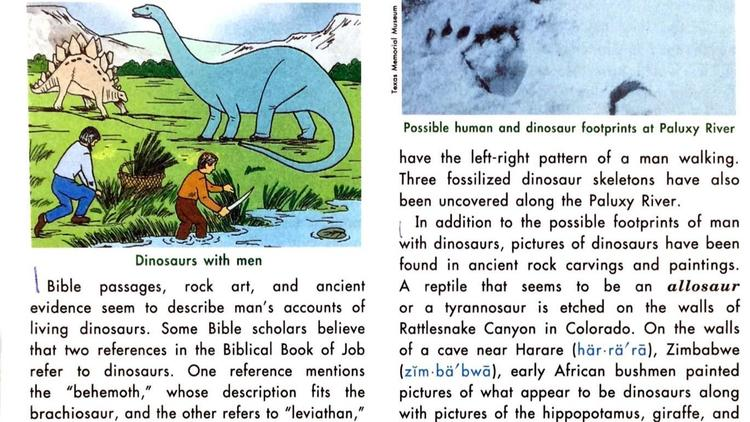 Tax-funded charter schools textbooks deny evolution, teach human-dinosaur cohabitation, endorse slavery and indigenous genocide