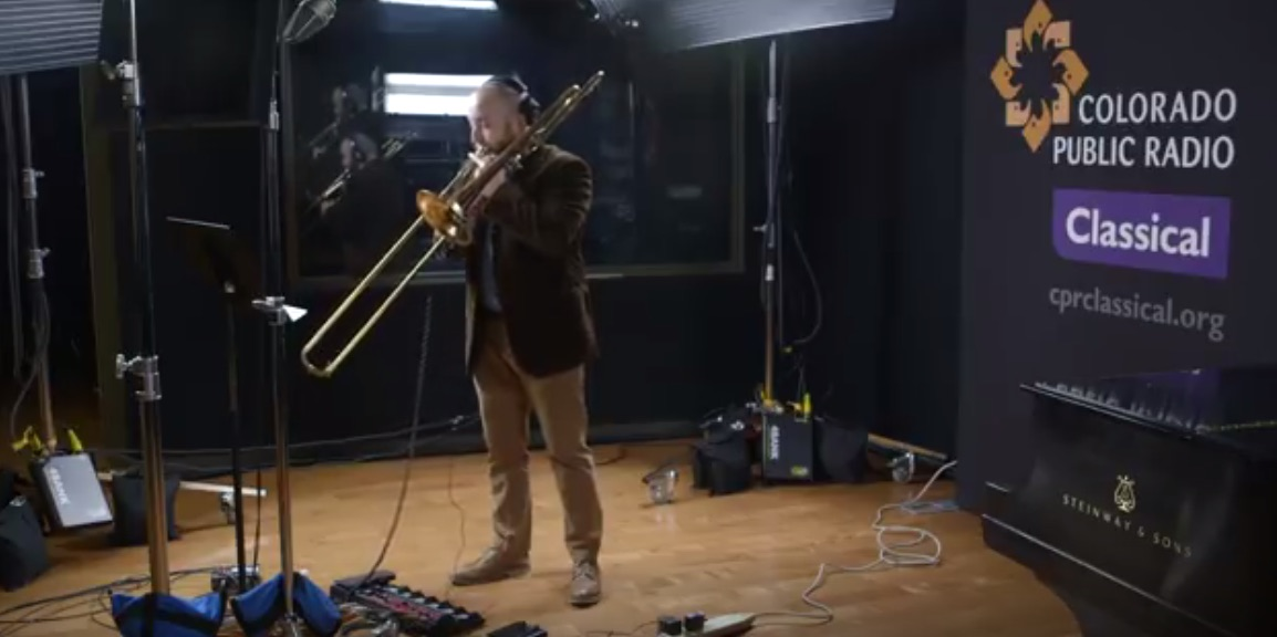 Trombonist with a loop pedal