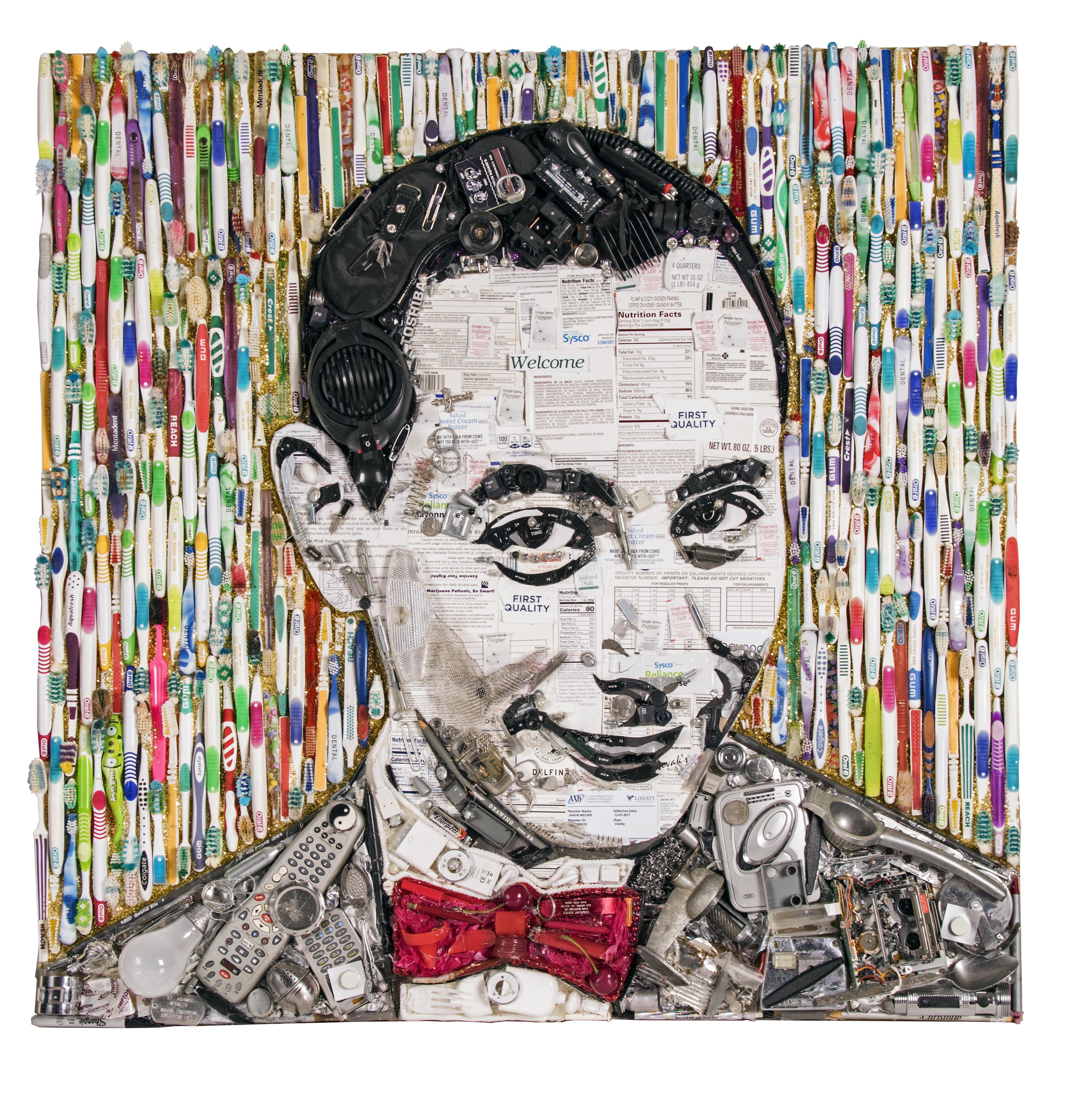This portrait of Pee-wee Herman is made with old toothbrushes, light bulbs,  and other junk