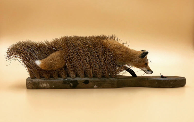 old brushes repurposed as felted animal sculptures boing boing