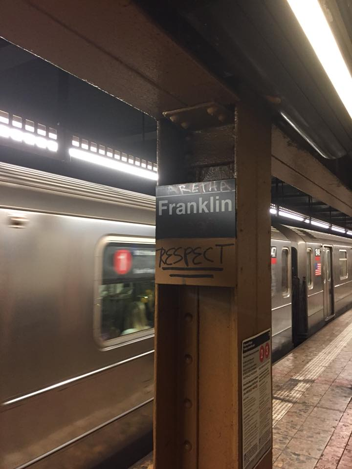 Aretha Franklin tribute on the NYC subway