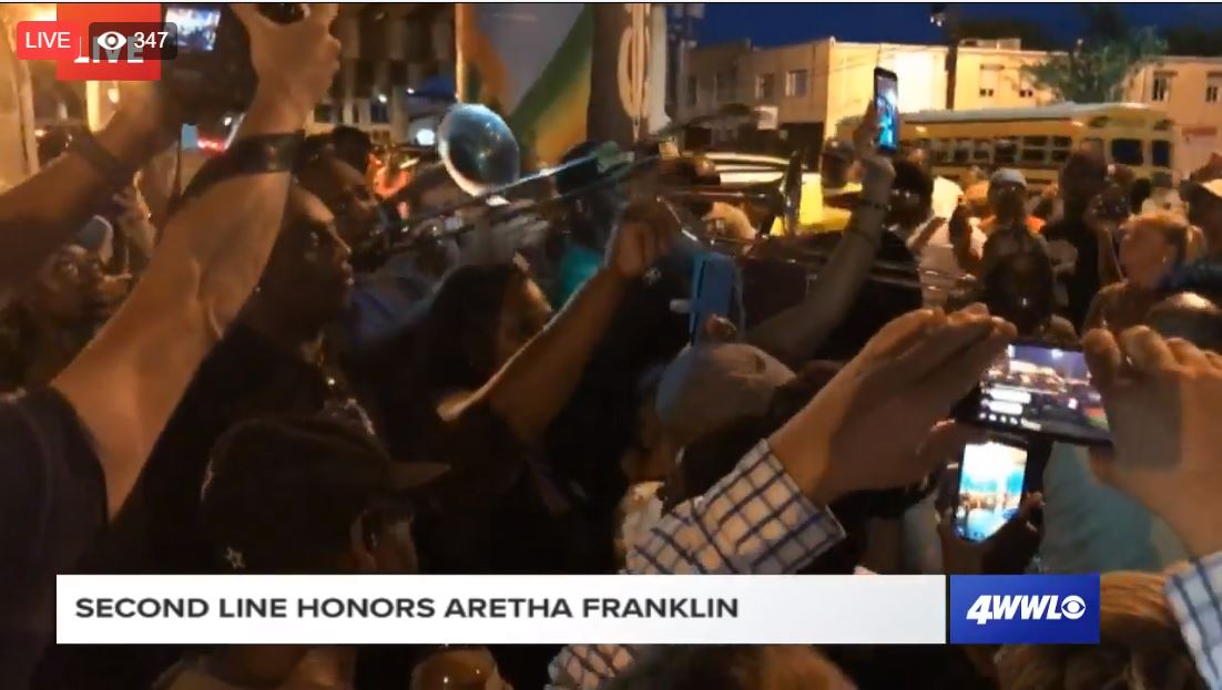Video: New Orleans second line honoring the Queen of Soul, Aretha Franklin, in Treme