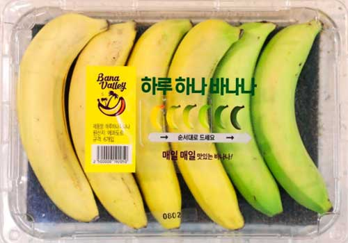 This is the way to sell bananas - a pack with a spectrum of ripeness levels
