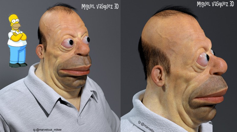 Homer Simpson in 3D: Artist Miguel Vasquez imagines what cartoon characters would look like in real life