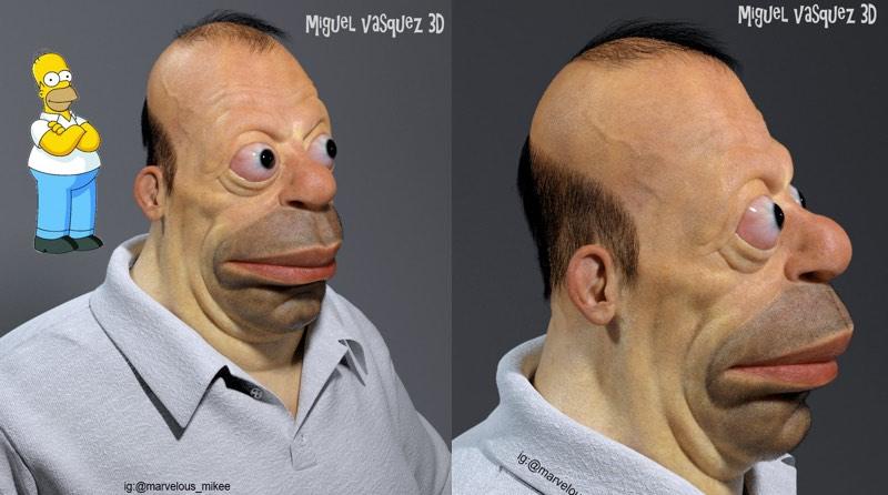 Homer Simpson In 3d Artist Miguel Vasquez Imagines What Cartoon