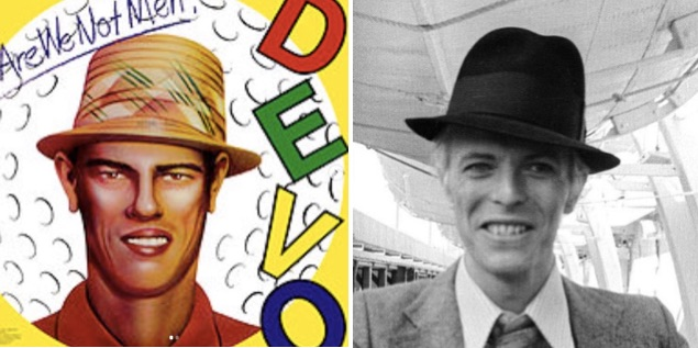 Striking similarity between David Bowie and cartoon man on Devo album cover