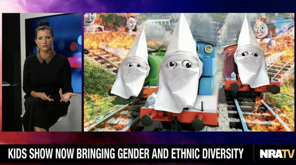 Angry at Kenyan train in Thomas the Tank Engine, the NRA posts picture of trains in Klan hoods