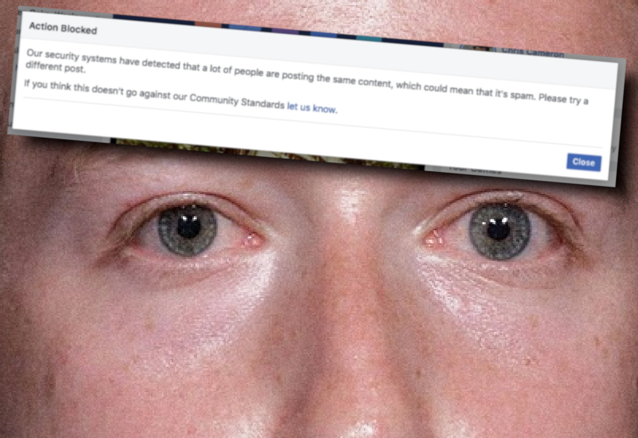 Facebook's spam filter blocked the most popular articles about its