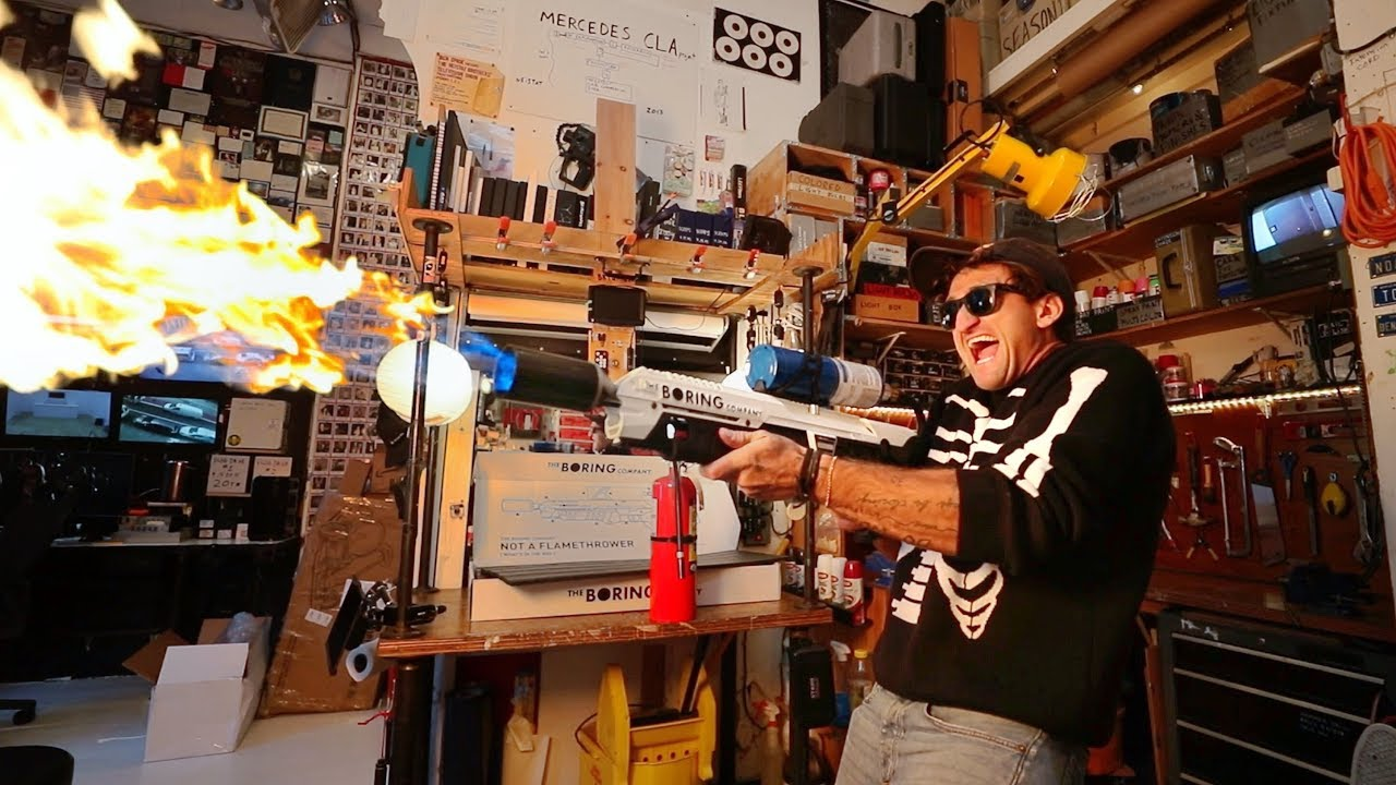 Casey Neistat tests out his new Boring Company 'Not a Flamethrower'