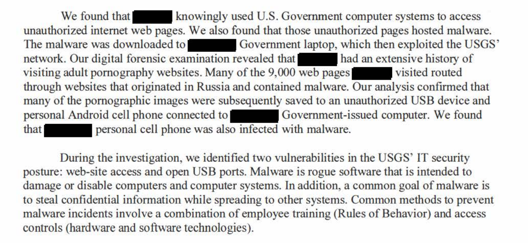 A single smut-addicted official at the US Geological Survey led to an IT  crisis there, according to an official report, with visits to more than  9000 porny ...