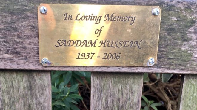 """In Loving Memory of Saddam Hussein"" memorial plaque appears on London park bench"