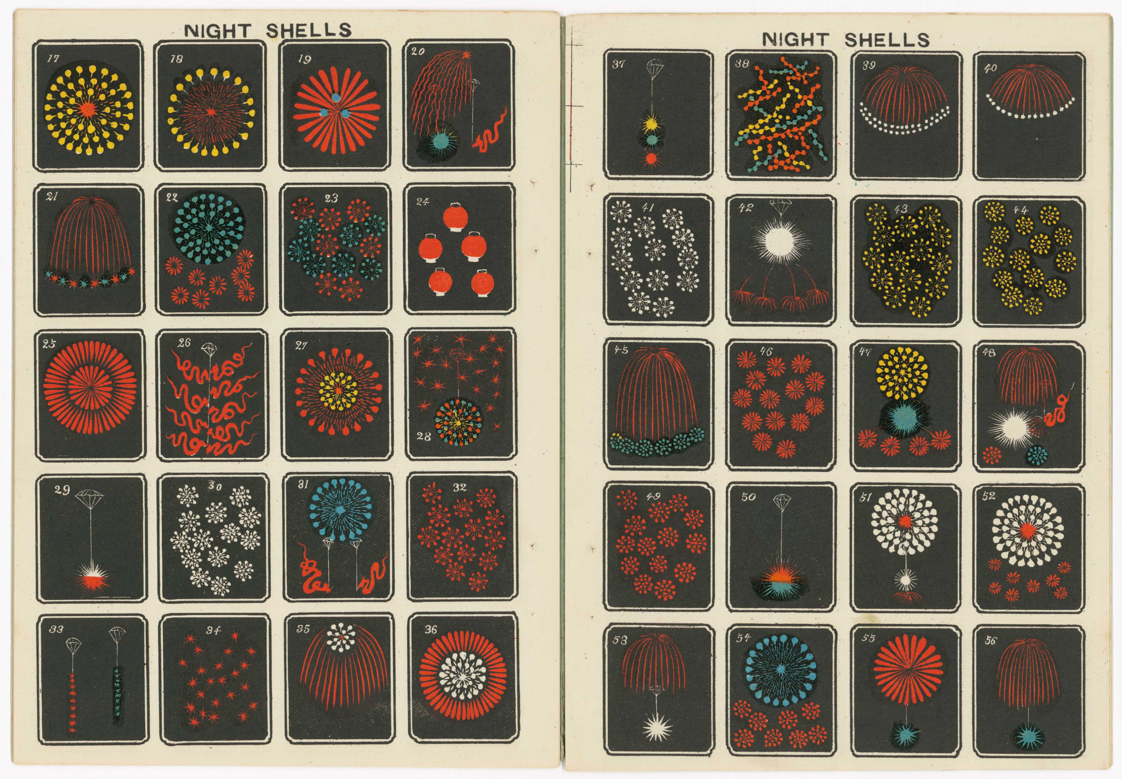 Gorgeous, illustrated Japanese fireworks catalogs from the early 1900s