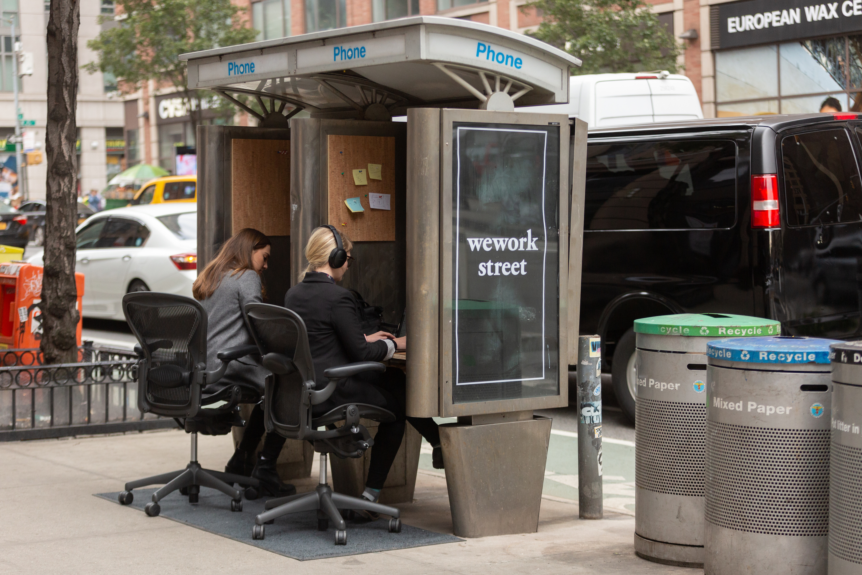 Phone booths in NYC turned into co-working spaces by prankster group