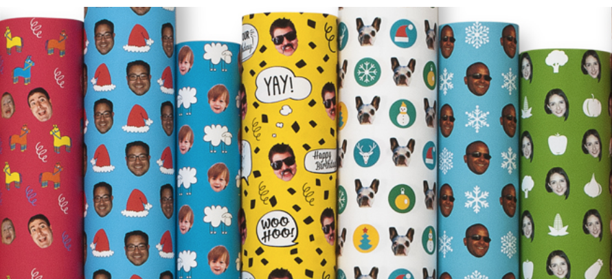 Custom gift wrap that has your (or someone else's) face on it