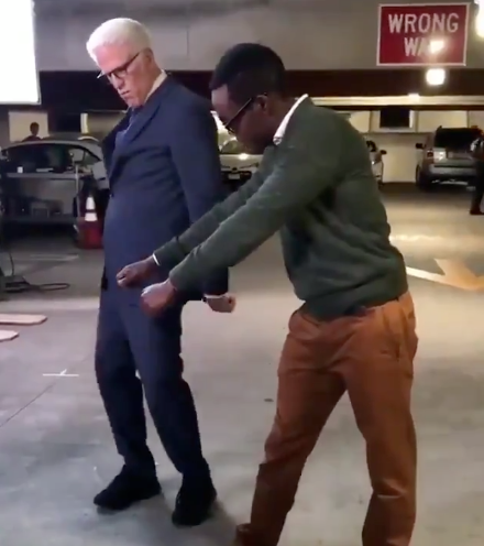 Ted Danson learning to floss