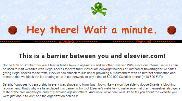 Swedish ISP punishes Elsevier for forcing it to block Sci-Hub by
