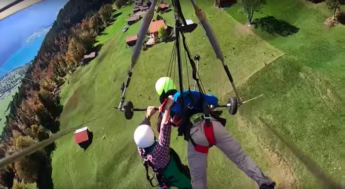 Watch man's horrifying hang gliding trip when instructor forgets to