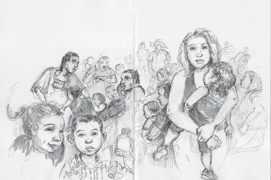 Molly Crabapple's illustrated report from the immigration