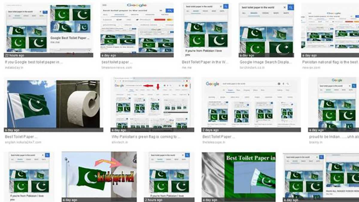 """Google image search for """"best toilet paper"""" returns images of Pakistan flag"""