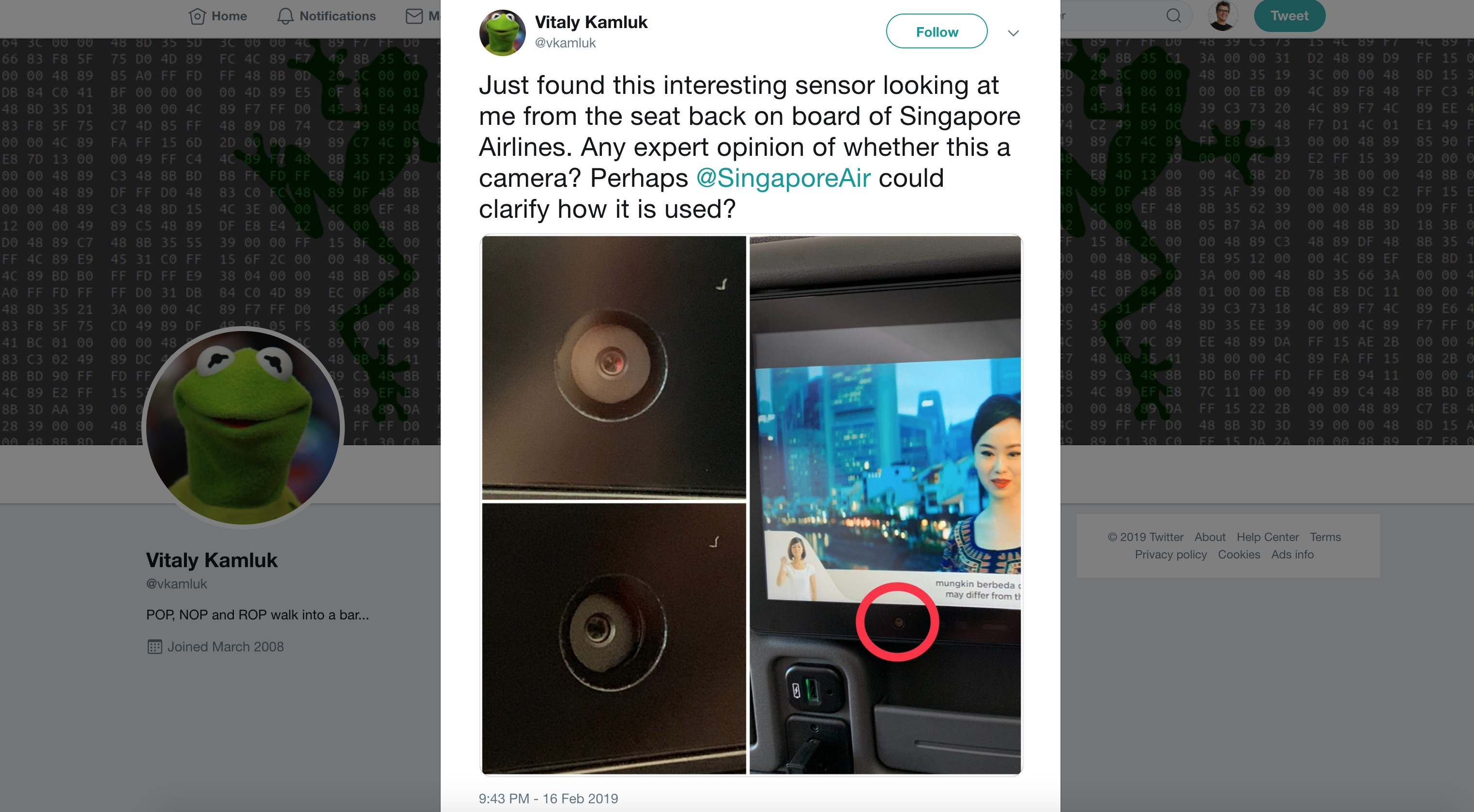 Singapore Airlines says seatback cameras are