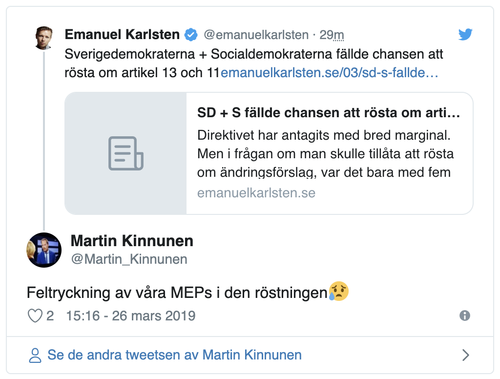 QnA VBage Article 13 will wreck the internet because Swedish MEPs accidentally pushed the wrong voting button