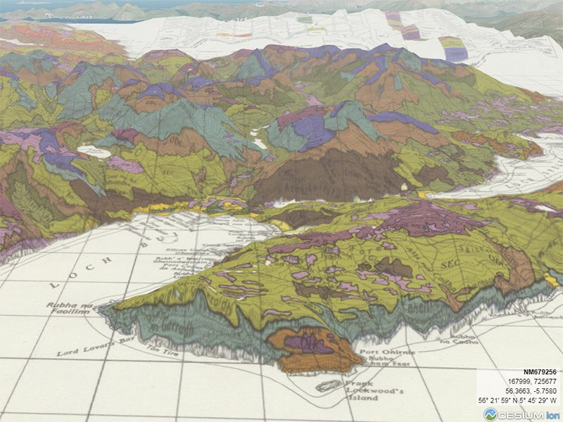 Old maps of Scotland impressed upon 3D elevation models
