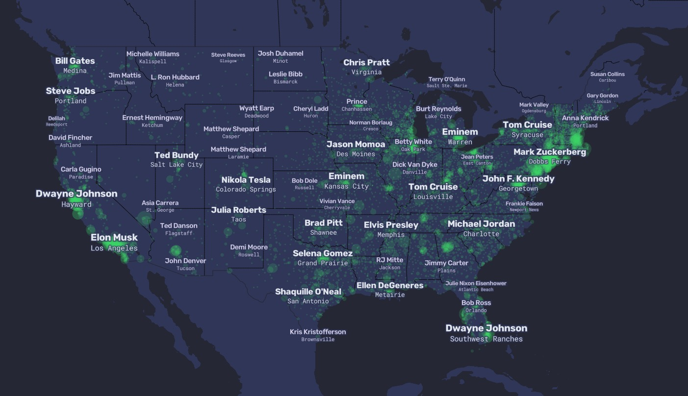 This Map Shows The Most Wikipediad Residents Of Every Town In The - Us-map-program