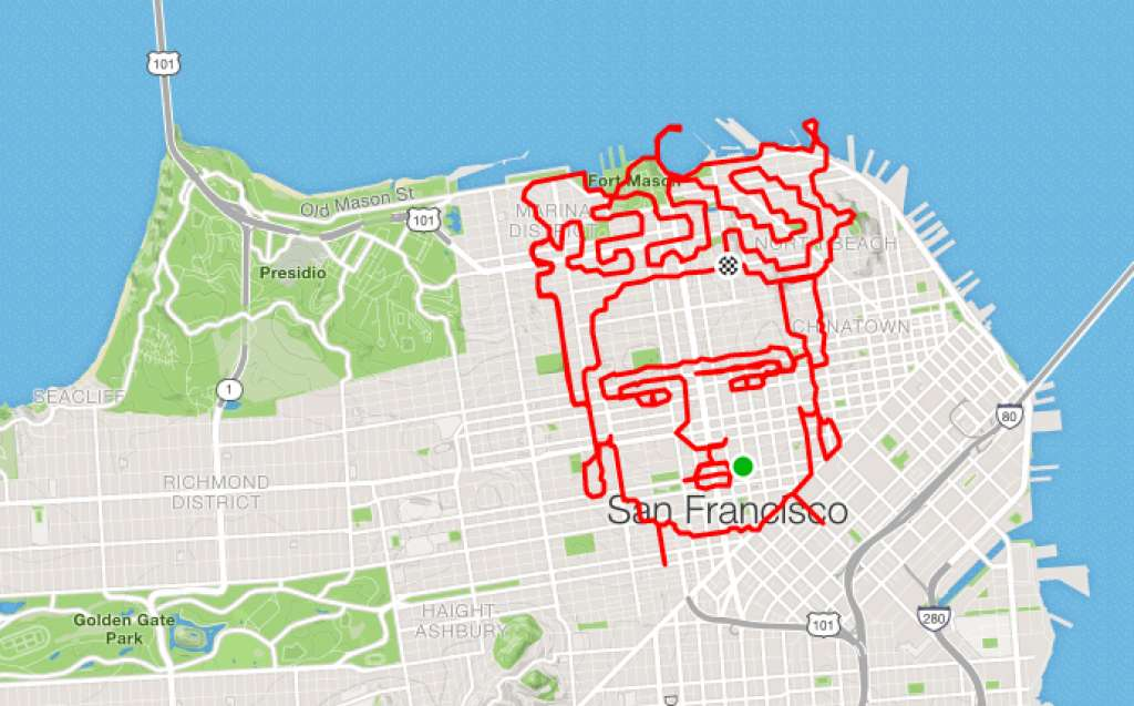 Runner maps portrait of Frida Kahlo on his nearly 30-mile ... on chicago map, kansas city map, northern ca map, omaha map, bay area map, detroit map, berkeley map, united states map, sydney australia map, dallas map, new york map, san diego, boston map, california map, sausalito map, london map, new orleans map, usa map, salt lake city map, tokyo map, golden gate park map, las vegas map, los angeles map,