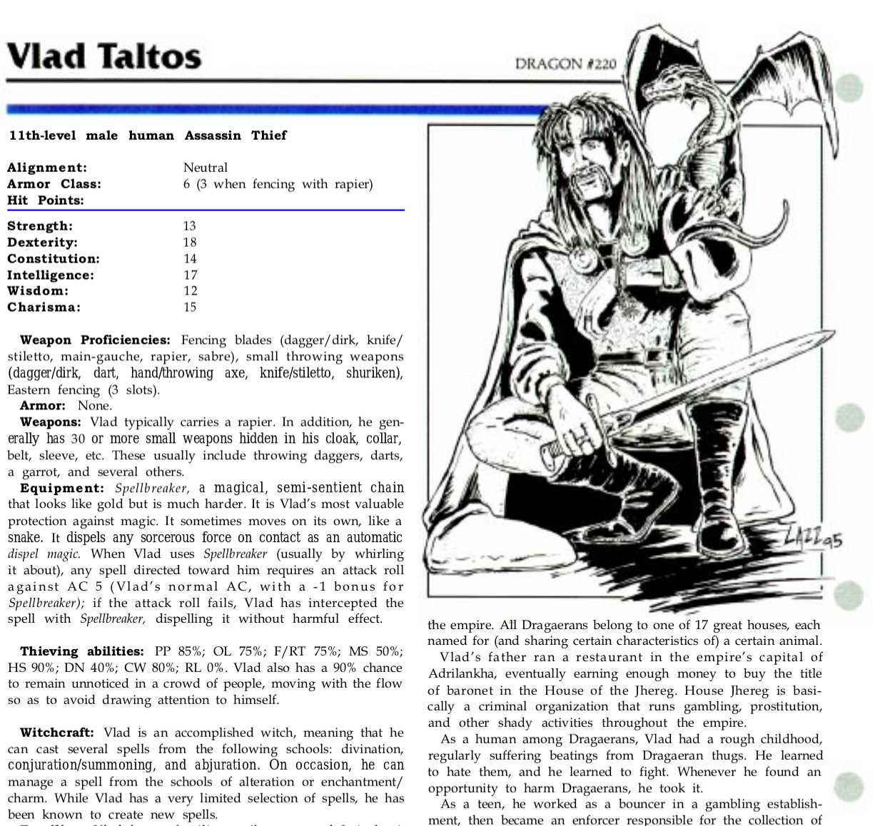 How To: play Vlad Taltos in an RPG