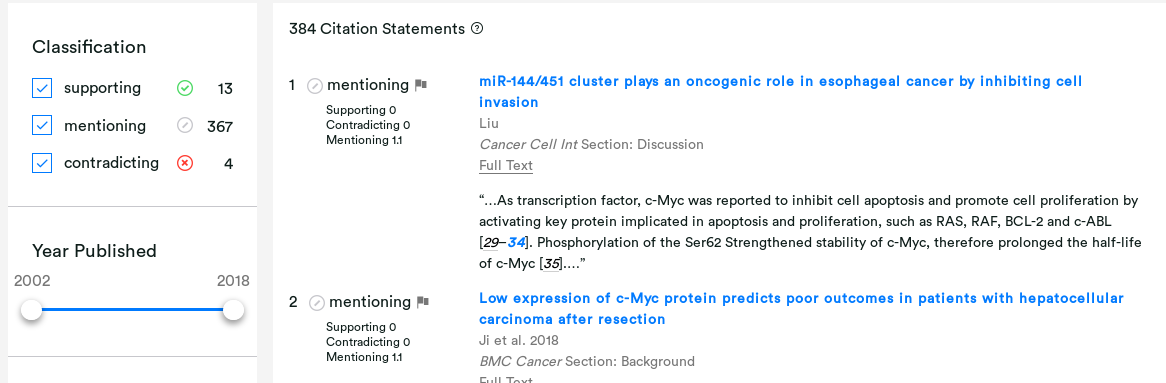 Scite: a tool to find out if a scientific paper has been supported or contradicted since its publication