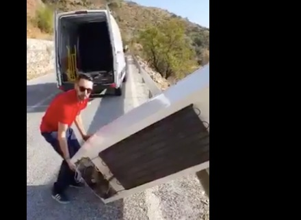 Guy dumps fridge off cliff in nature, mocks recycling  Gets