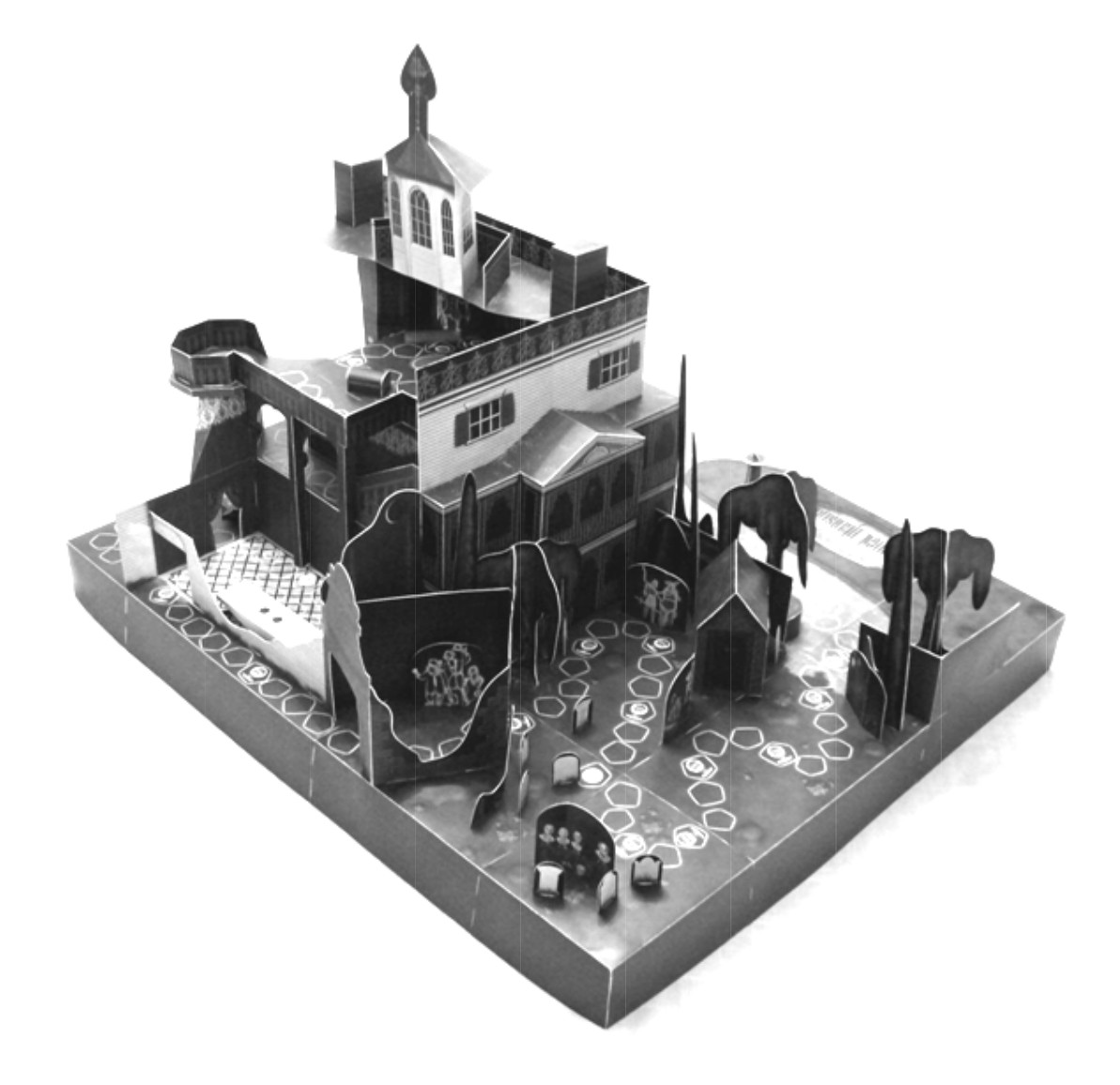 A 3D papercraft Haunted Mansion board game to print and assemble