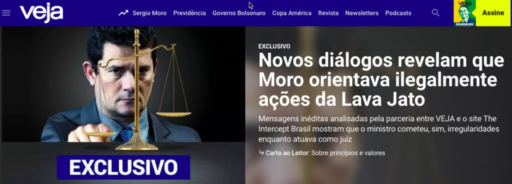 Crisis for Bolsonaro's justice minister Sergio Moro after leaks reveal that he targeted Lulu for political prosecution