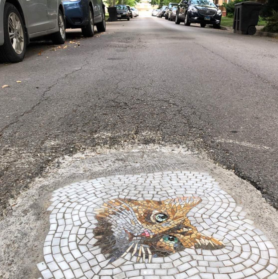 Real street art: potholes turned into mosaics
