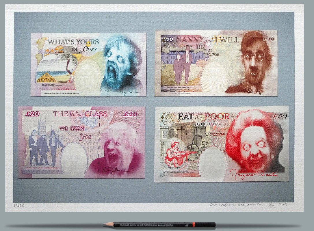 Defaced banknotes depict the four horsemen of the British political apocalypse