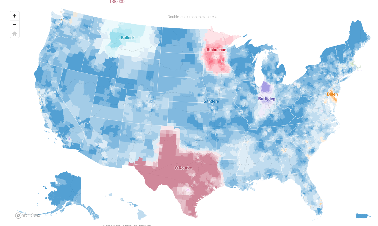 Donor maps show just how widespread Sanders' support is / Boing Boing