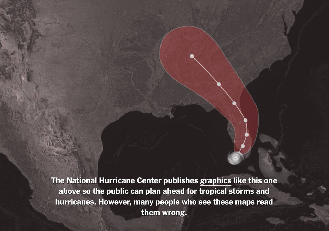 Screenshot of a hurricane map, with a caption on it, from the New York Times